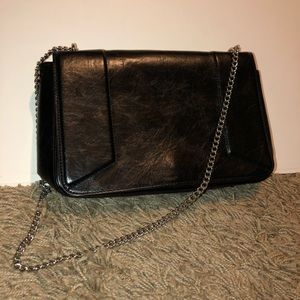 Real leather crossbody bag with silver chain